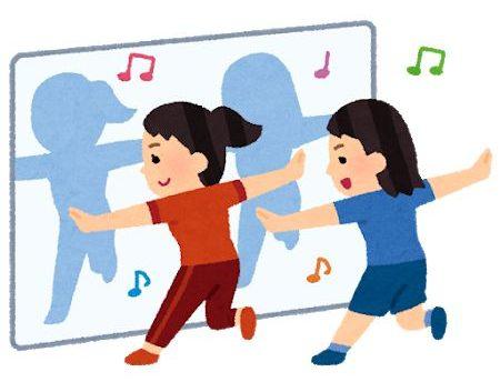 鏡の前でダンスの練習