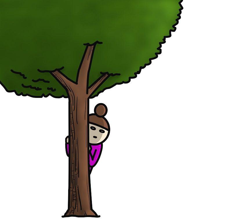 木の陰から見る