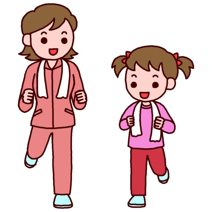 走る母と娘