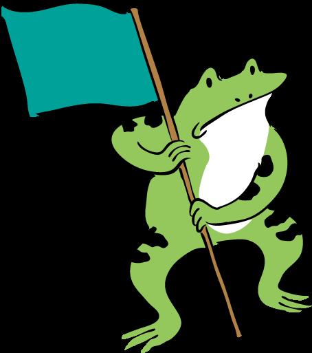 旗を持つカエル